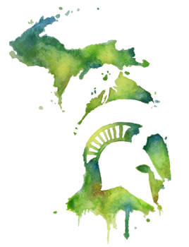 Michigan State Spartan in Watercolor