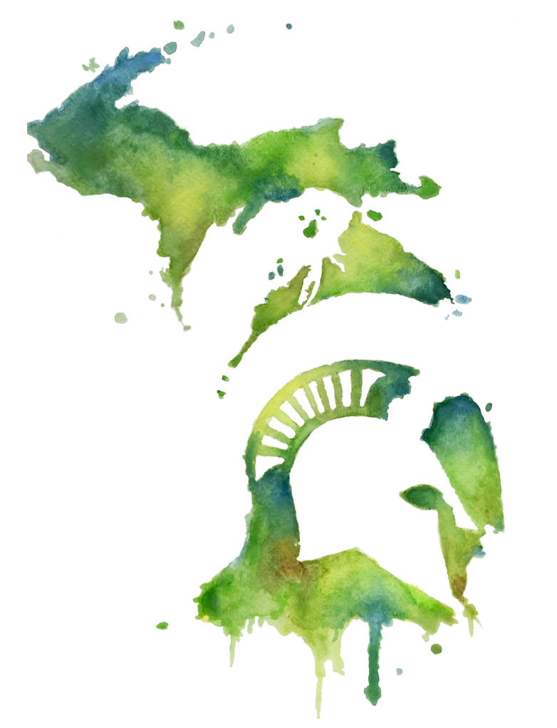 Michigan State Spartan in Watercolor by Slightly-Spartan