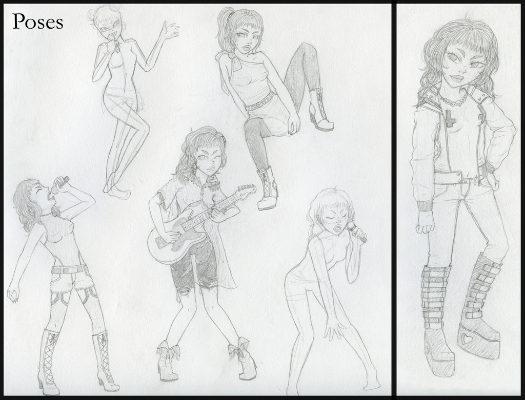 Character Design Poses : Rock band character design poses by apresdereve on deviantart