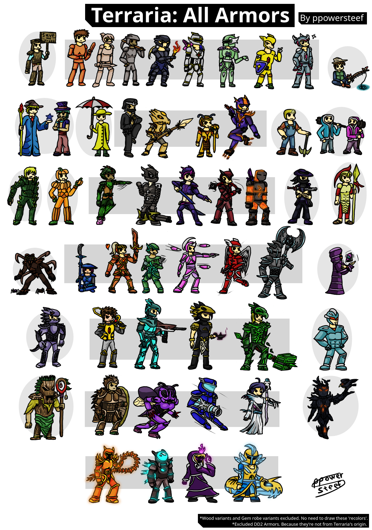 Terraria All Armors 1 3 By Ppowersteef On Deviantart They can be judged based on their appearance and overall usefulness in the game. terraria all armors 1 3 by ppowersteef