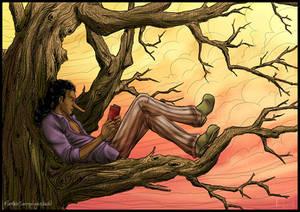 Usopp reading in a tree