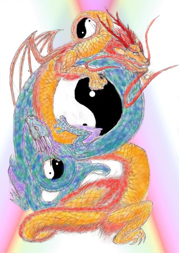Orange and blue dragons surrounding a yin-yang