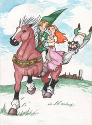 Epona, Link, Malon and Ingo Watercolor