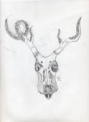 Deer skull w tentacles by RockValley