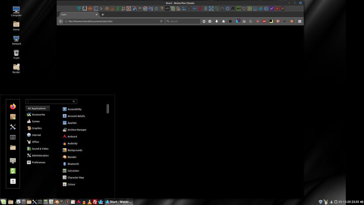 Linux Mint on Spanky - Waterfox Start Page 2