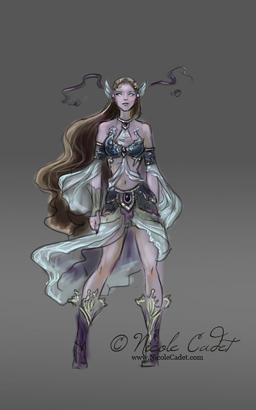 Purple character concept by NicoleCadet
