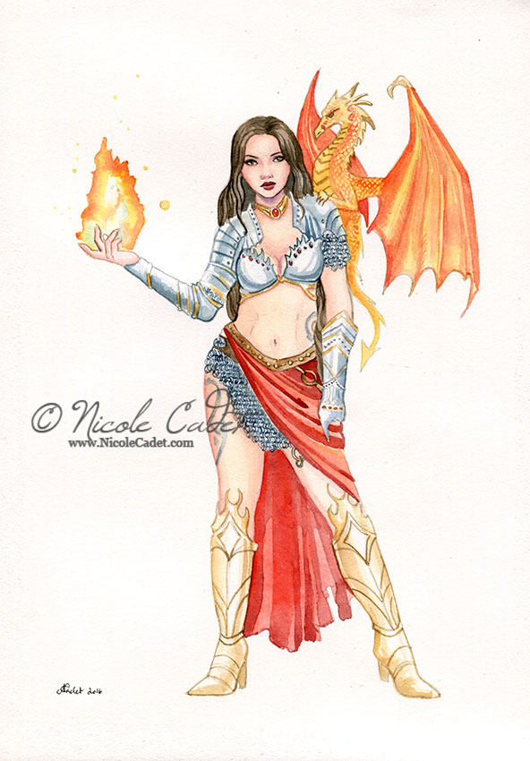 Red Witch With Dragon by NicoleCadet