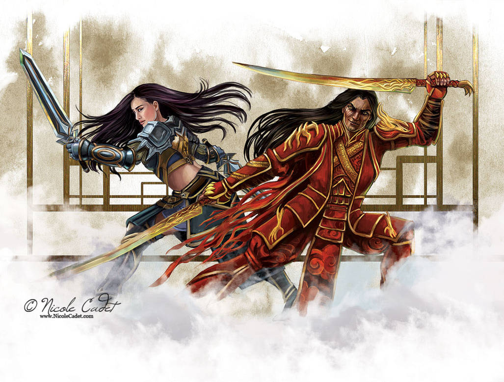 GW2 fan art - Shiro Tagachi and Lark fight by NicoleCadet