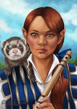 Baldurs Gate Gnome bard and ferret