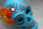 Orange flower sugar skull by shelostit