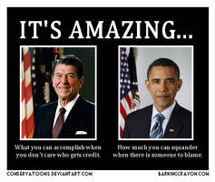 Obama and Reagan by Conservatoons