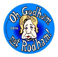 Oh Godam not Rodham button by Conservatoons