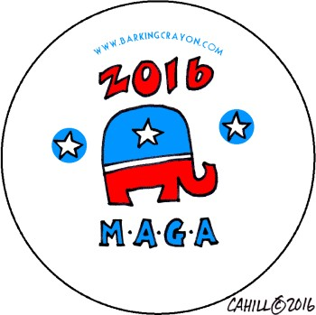 Trump 2016 M.A.G.A. button by Conservatoons