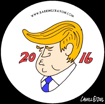 Trump 2016 Caricature button by Conservatoons