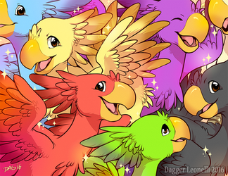 Colorful Bunch of Chocobos by Majime