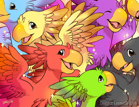 Colorful Bunch of Chocobos