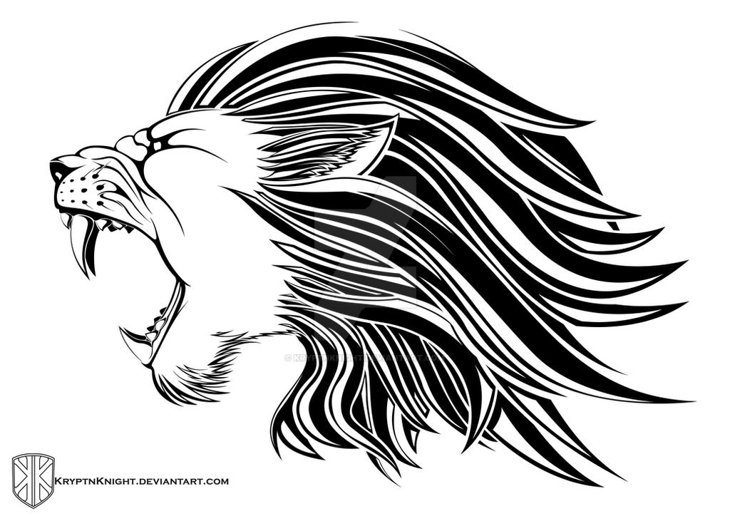 Roaring lion drawing tribal
