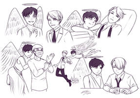 Doctor x Angel au sketches by Kare-Valgon