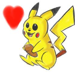 Pikachu eatin bread by Ardhamon