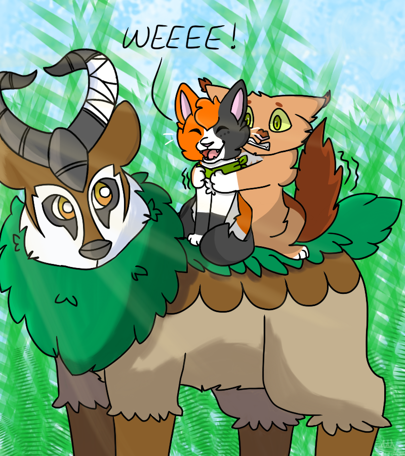 Riding on Moss the Gogoat by MapleDrizzle