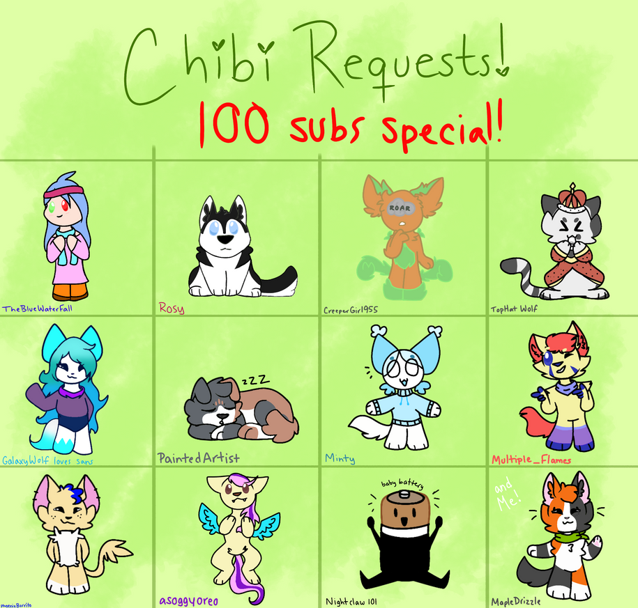 Chibi OC Requests from the Livestream by MapleDrizzle