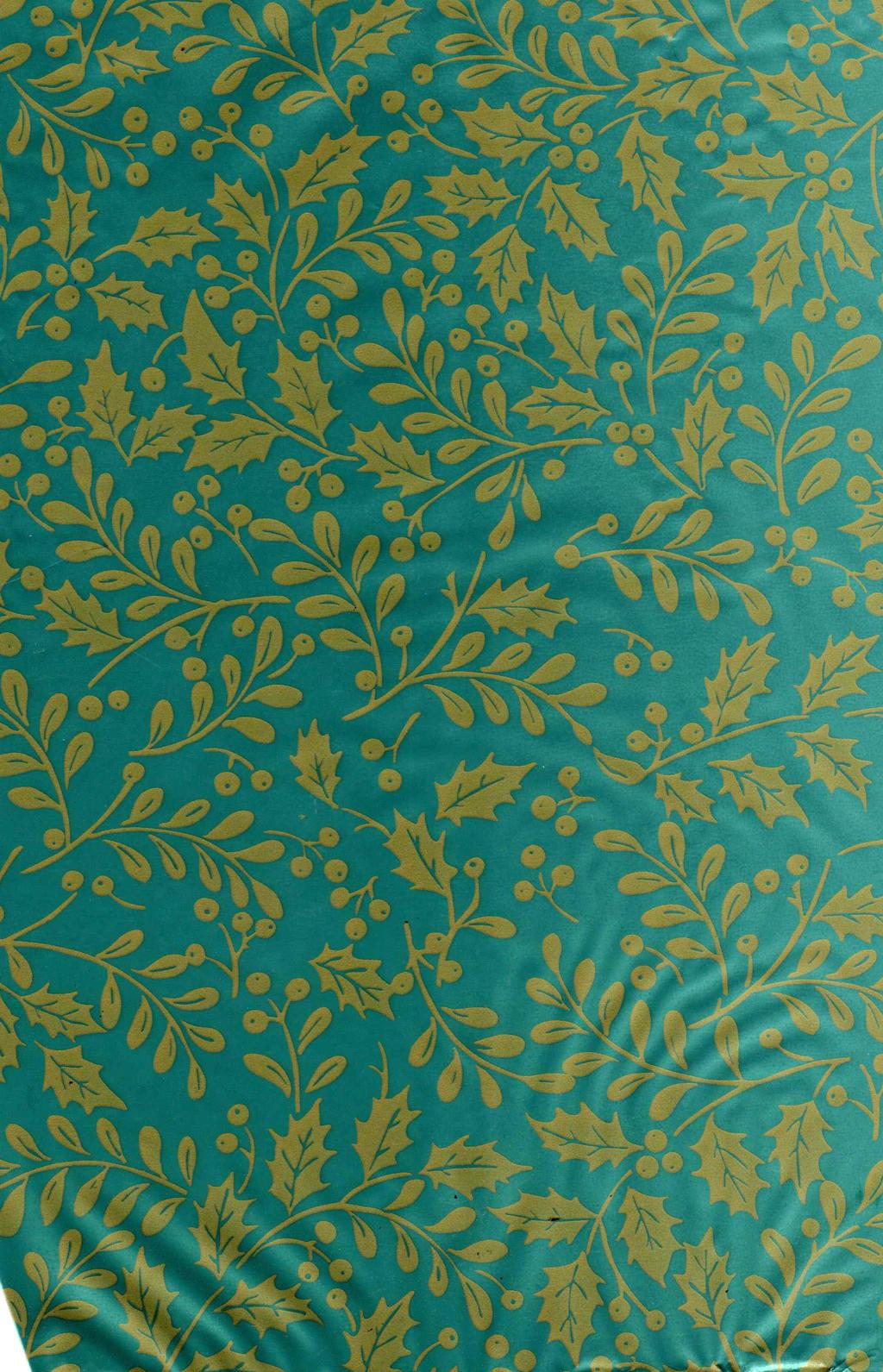 Teal mistletoe gift wrap texture