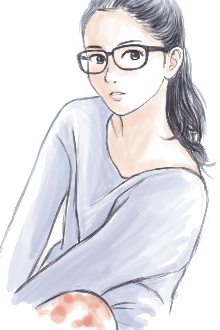 Girl With Glasses And Ponytail Hairstyle By Cocon On