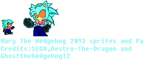 Mary the hedgehog 2013 look sprite and PA by SHANIC1295