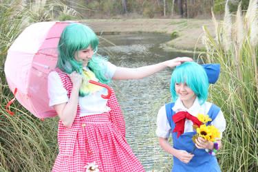 Cirno and Yuuka by Kureiyaa