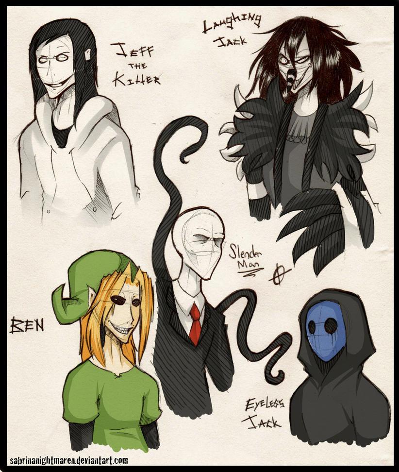 Creepypasta Doodles... Again Durrhurr by SabrinaNightmaren