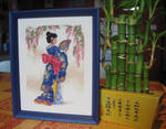 Geisha stitch work - Framed
