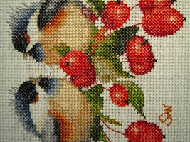 Berry Chick Chat cross-stitch by Santian69