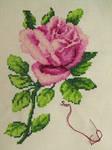 Pink rose cross stitch