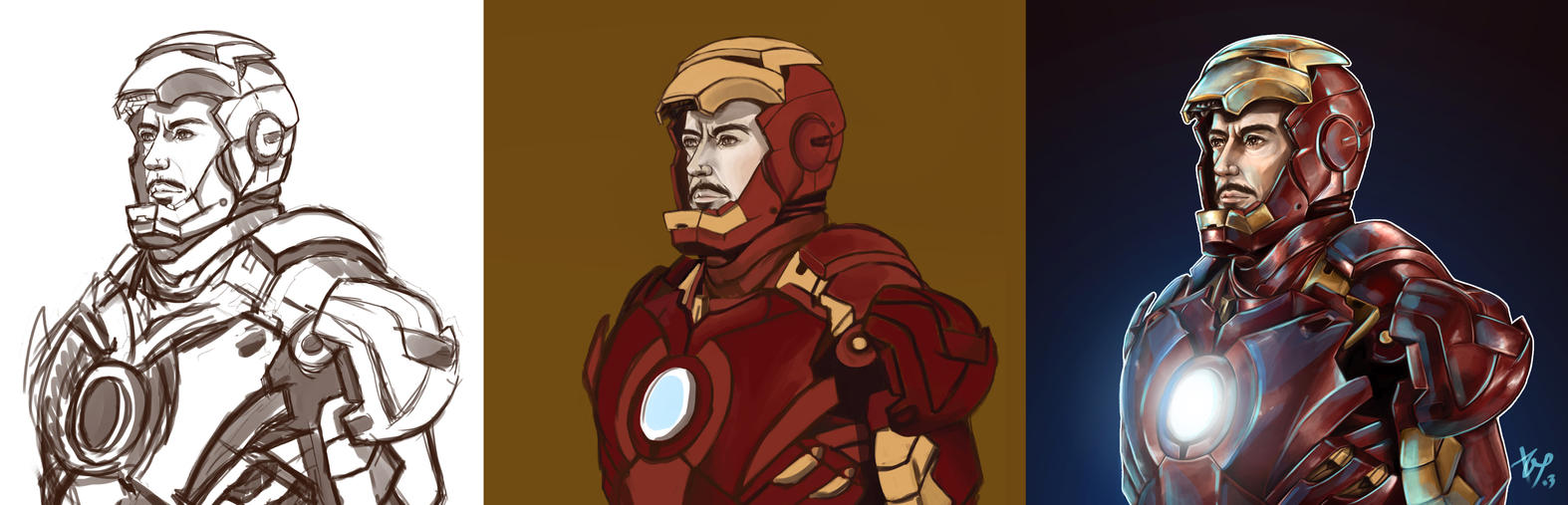Process of Iron Man by Esthiell