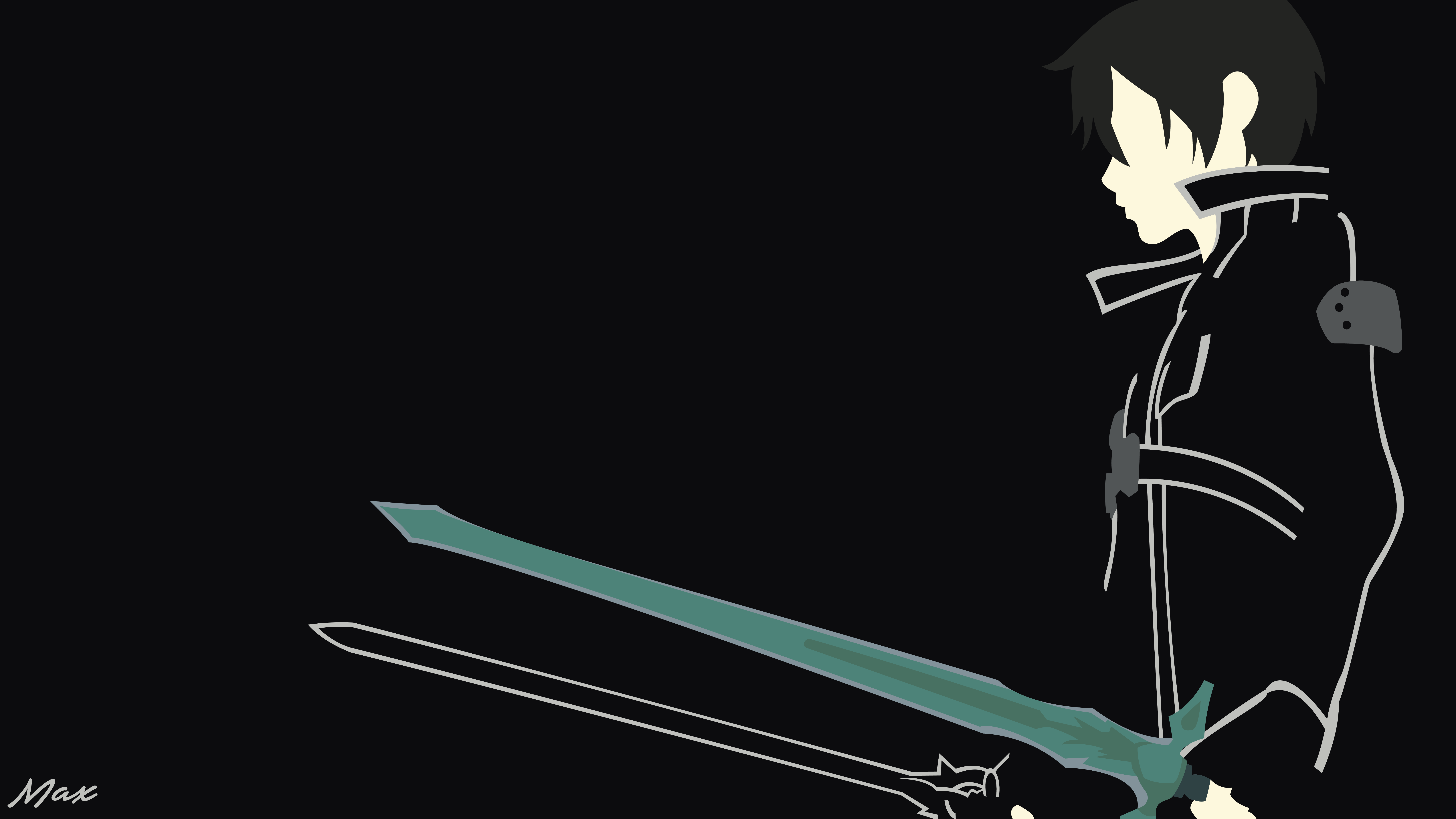 Kirito black swordsman sao minimal wallpaper by max028 for Minimal art online