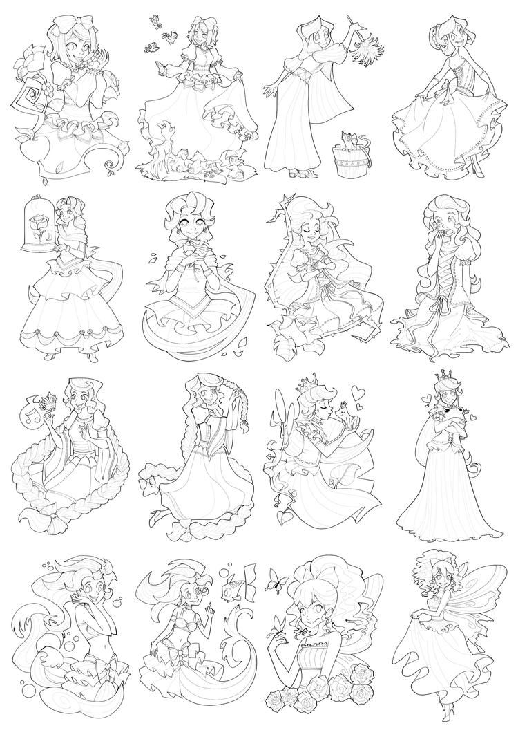 princess coloring page compilation by ehllychan on deviantart