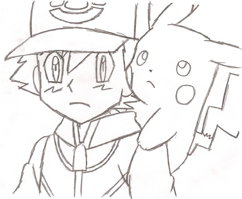 Pikachu and ash drawing for Ash and pikachu coloring pages
