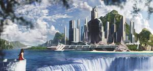 Waterfall City Matte Painting