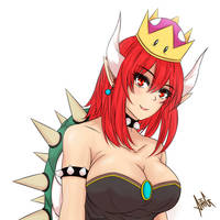 Princess Bowsette [Bowser Red Hair Colour] by AreMeerulAmg