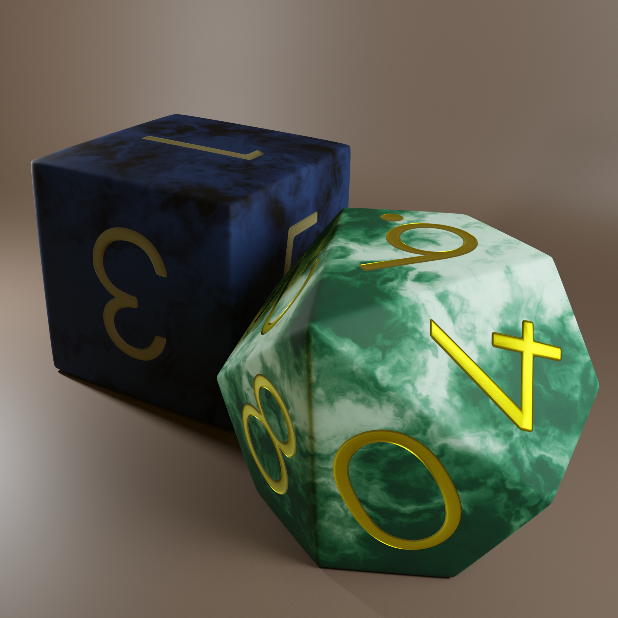 A D6 and a D10