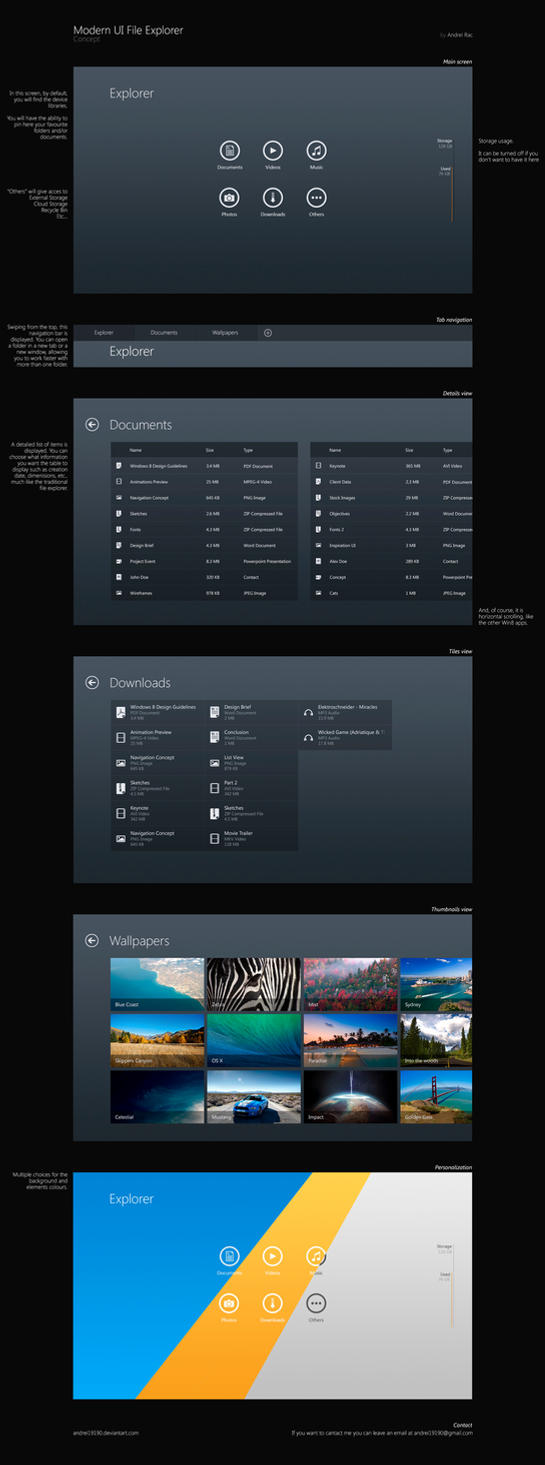 Modern UI File Explorer Concept by andrei19190