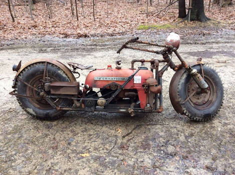 Motorcycle built from old tractor.