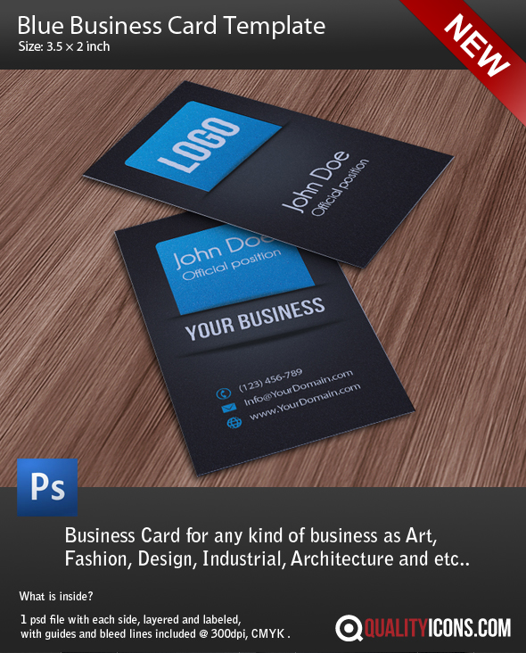 Business Card Template PSD Blue By Qualityicons On DeviantArt - Psd business card template with bleed