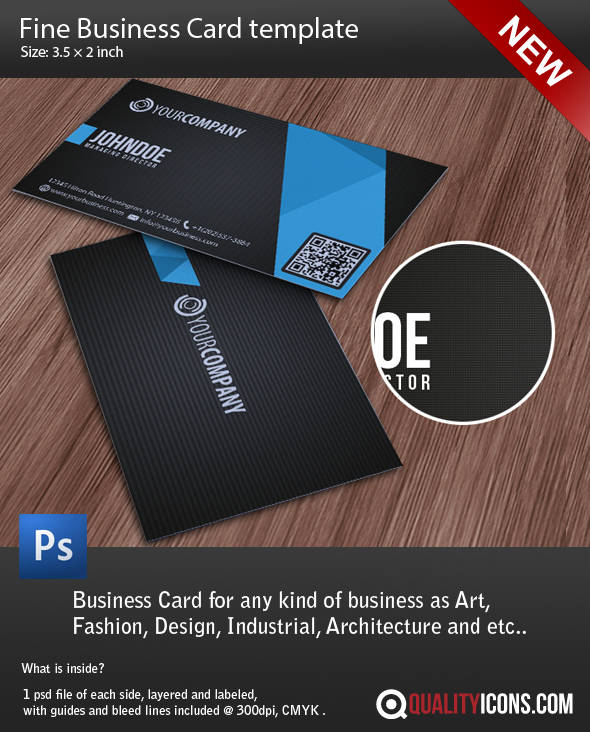 Business card Template Fine PSD file by Qualityicons on