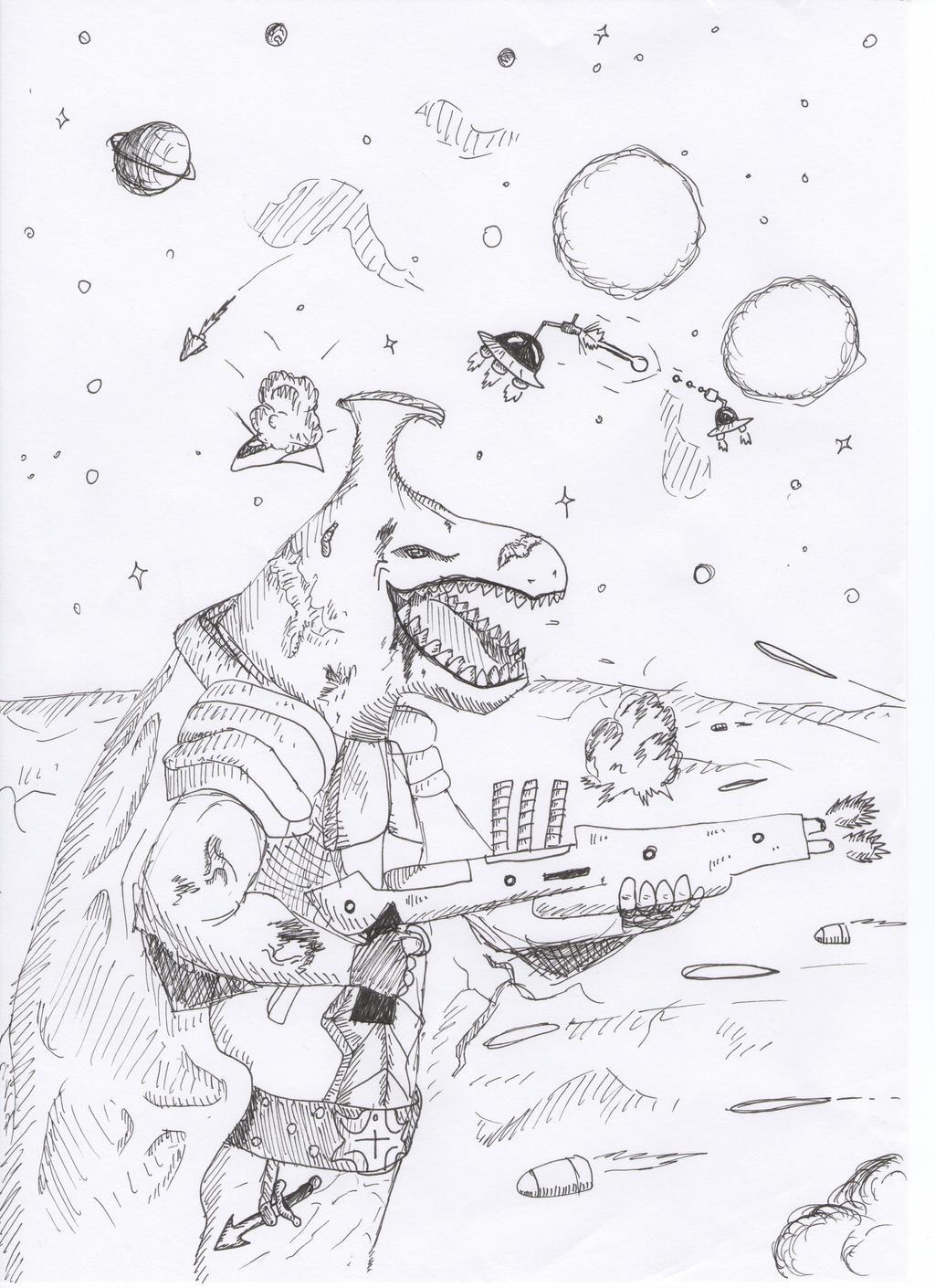 Dinosaur,space yeah by Spyhamschter
