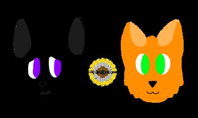 Ravenpaw and Firestar headshot by Trupokemon