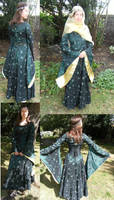 green medieval fantasy dress by numberjumble