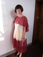 red and cream 1920s dress by numberjumble