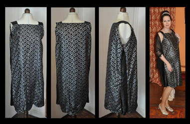 Black and Silver 1920s maternity dress by numberjumble