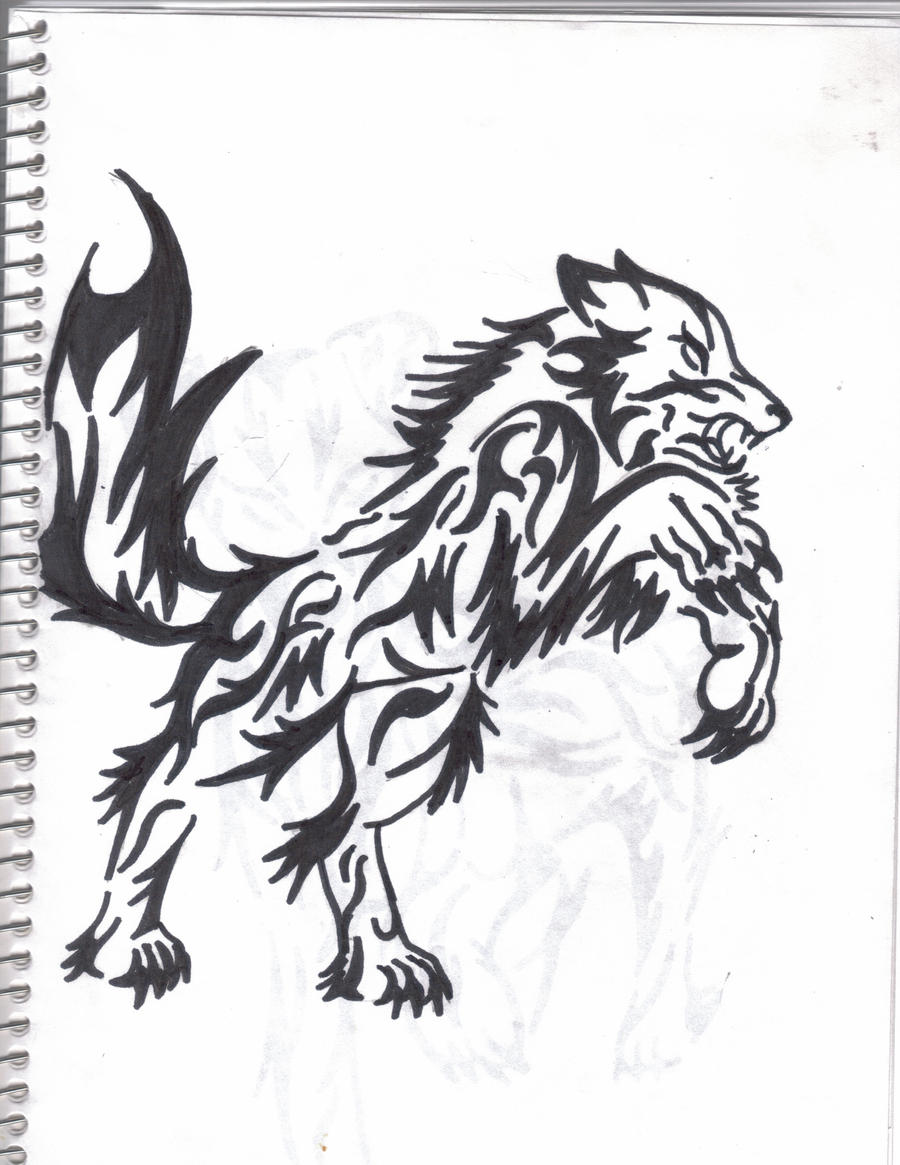 Rage Wolf Tribal Tattoo By Inkarnidine Manga Anime Traditional Media